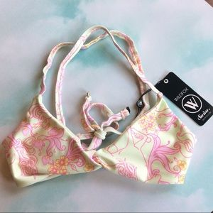 Wildfox Swim Unicorn Strawberry Print Bikini Top